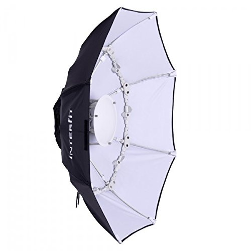 """Interfit Photographic INT783 40"""" White Foldable Beauty Dish, S-Type Fitting (Black/White)"""