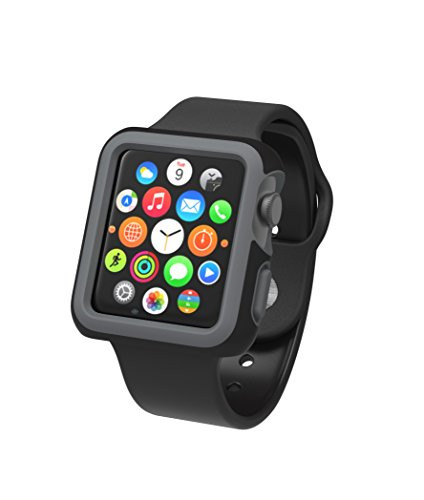 Speck Products CandyShell Fit Case for Apple Watch 38mm, Black/Slate Grey