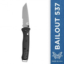 Benchmade - Bailout 537, EDC Tactical Folding Knife, Tanto Blade, Manual Open, Axis Locking Mechanism, Made in USA, Coated, Serrated