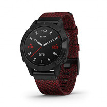 Garmin Fenix 6 Sapphire, Premium Multisport GPS Watch, - Black DLC with Heathered Red Nylon Band - (010-02158-16)