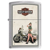 "Zippo ""Harley Davidson-WWII Army Pinup"" Brushed Chrome Lighter, 9939 (041689160593)"