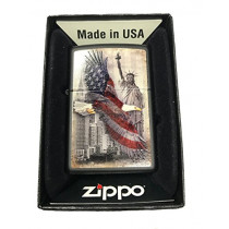 Zippo Custom Lighter - USA Eagle & Statue of Liberty - Black Matte (041689445874)