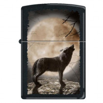 "Zippo ""Wolf Howling at Moon"" Black Matte Lighter, 3731 (041689689773)"