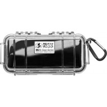 Pelican 1030 Black 1030-025-100 Micro Case with Clear Lid and Carabiner