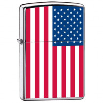 "Zippo ""United States Flag"" Lighter, High Polish Chrome, 7959 (041689678357)"