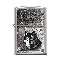 "Zippo ""Wolf & Indian Dream Catcher"" Lighter, Brushed Chrome, 0415 (041689341114)"