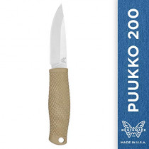 Benchmade - Puukko 200 Fixed Bushcraft Knife Made in USA with Leather Dangler Loop Sheath with Buckle, Drop-Point Blade, Plain Edge, Satin Finish, Rubberized Santoprene Handle
