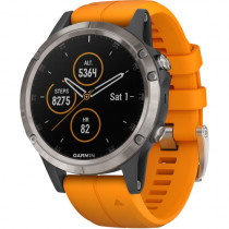 Garmin fēnix 5 Plus, Premium Multisport GPS Smartwatch, Features Color TOPO Maps, Heart Rate Monitoring, Music and Garmin Pay, Titanium/Orange