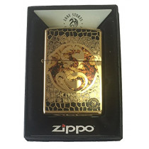 Zippo Custom Lighter - Ann Stokes Artist Dragon w/ Scales Design High Polish Brass (041689489151)