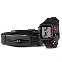 Garmin Forerunner 25 Bundle with Heart Rate Monitor (Large) - Black and Red