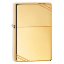 Zippo Vintage with Slashes High Polish Brass Pocket Lighter