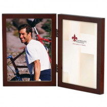 Lawrence Frames Hinged Double Walnut Wood Picture Frame, Gallery Collection, 5 by 7-Inch