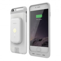 iPhone 6/6S Plus Stack Pack (White) - Magnetic Wireless Charging Receiver Case, Removeable Battery Pack, Wall Charger