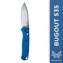Benchmade - Bugout 535 Knife, Plain Drop-point, Blue Handle, Satin Finish