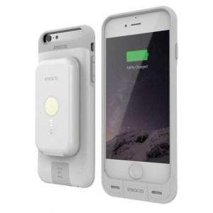 iPhone 6/6S Stack Pack (White) - Magnetic Wireless Charging Receiver Case, Removeable Battery Pack, Wall Charger (815057020426)