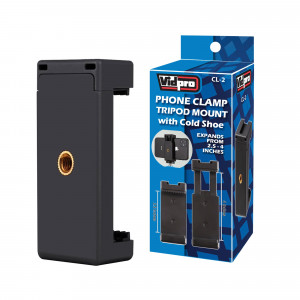 Vidpro Tripod Mountable Phone Clamp with Cold Shoe (CL-2)
