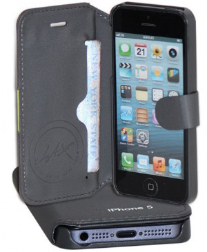 LAX Gadgets Premium Folio Wallet for iPhone 5 - Grey